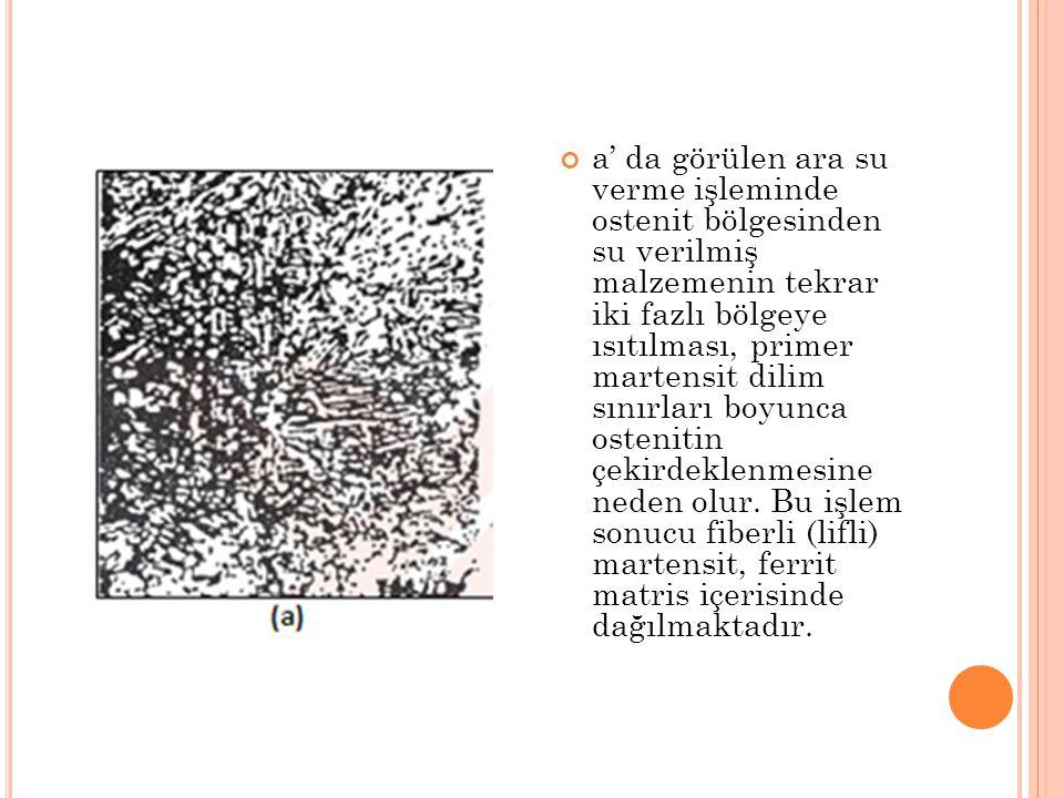 a' da görülen ara su verme işleminde ostenit bölgesinden su verilmiş malzemenin tekrar iki fazlı bölgeye ısıtılması, primer martensit dilim sınırları