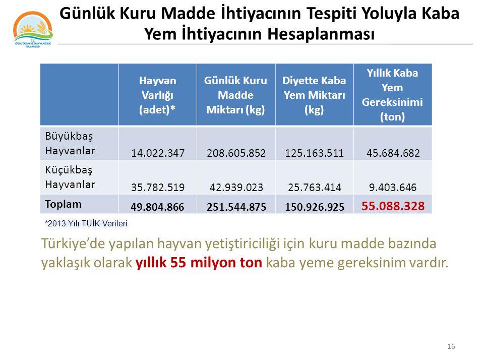 Türkiye'de yapılan hayvan yetiştiriciliği için kuru madde bazında yaklaşık olarak yıllık 55 milyon ton kaba yeme gereksinim vardır. Hayvan Varlığı (ad