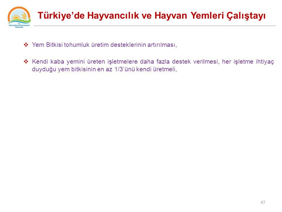 Türkiye'de Hayvancılık ve Hayvan Yemleri Çalıştayı  Yem Bitkisi tohumluk üretim desteklerinin artırılması,  Kendi kaba yemini üreten işletmelere daha fazla destek verilmesi, her işletme ihtiyaç duyduğu yem bitkisinin en az 1/3'ünü kendi üretmeli, 47