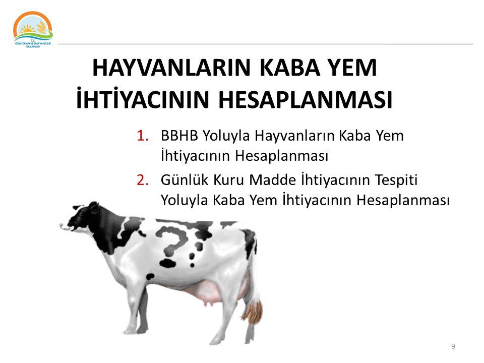 HAYVANLARIN KABA YEM İHTİYACININ HESAPLANMASI 1.BBHB Yoluyla Hayvanların Kaba Yem İhtiyacının Hesaplanması 2.Günlük Kuru Madde İhtiyacının Tespiti Yol
