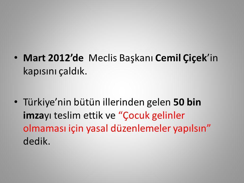 Mart 2012'de Meclis Başkanı Cemil Çiçek'in kapısını çaldık.
