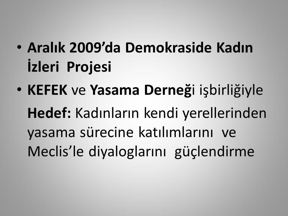Aralık 2009'da Demokraside Kadın İzleri Projesi KEFEK ve Yasama Derneği işbirliğiyle Hedef: Kadınların kendi yerellerinden yasama sürecine katılımlarını ve Meclis'le diyaloglarını güçlendirme