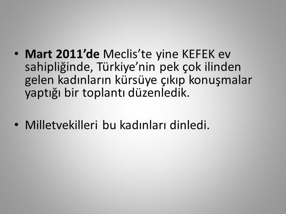 Mart 2011'de Meclis'te yine KEFEK ev sahipliğinde, Türkiye'nin pek çok ilinden gelen kadınların kürsüye çıkıp konuşmalar yaptığı bir toplantı düzenledik.
