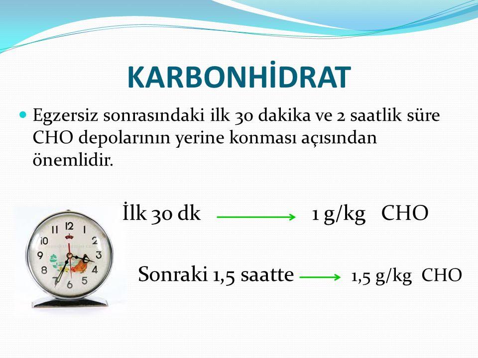 KARBONHİDRAT Egzersiz sonrasındaki ilk 30 dakika ve 2 saatlik süre CHO depolarının yerine konması açısından önemlidir. İlk 30 dk 1 g/kg CHO Sonraki 1,