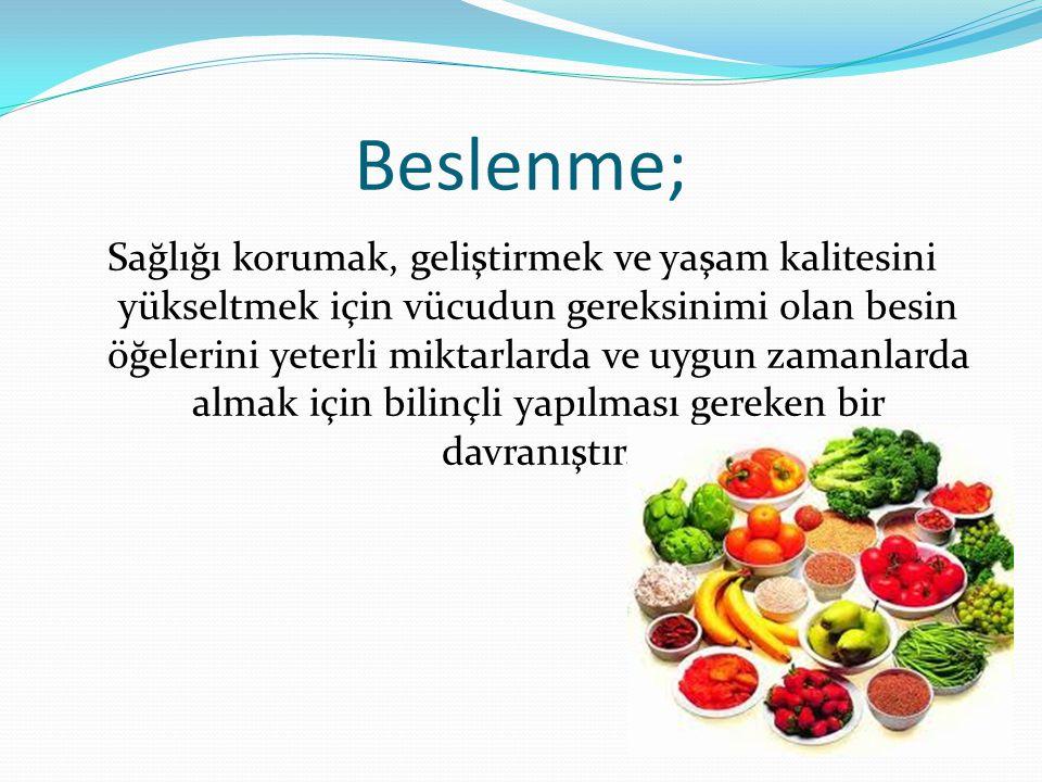 Beslenme; Sağlığı korumak, geliştirmek ve yaşam kalitesini yükseltmek için vücudun gereksinimi olan besin öğelerini yeterli miktarlarda ve uygun zaman