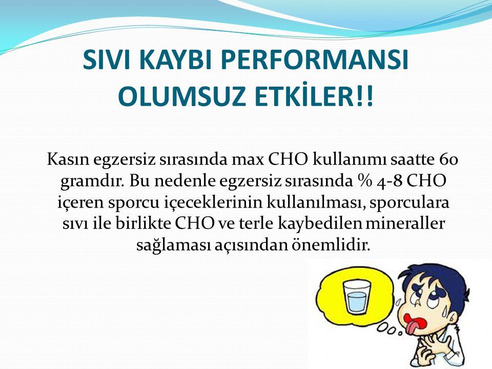 SIVI KAYBI PERFORMANSI OLUMSUZ ETKİLER!! Kasın egzersiz sırasında max CHO kullanımı saatte 60 gramdır. Bu nedenle egzersiz sırasında % 4-8 CHO içeren