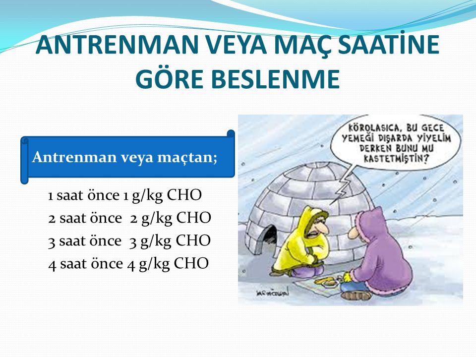 ANTRENMAN VEYA MAÇ SAATİNE GÖRE BESLENME 1 saat önce 1 g/kg CHO 2 saat önce 2 g/kg CHO 3 saat önce 3 g/kg CHO 4 saat önce 4 g/kg CHO Antrenman veya ma