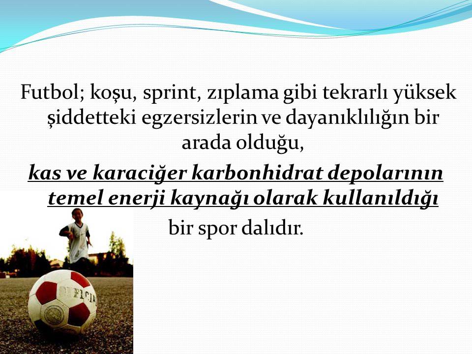 Futbol; koşu, sprint, zıplama gibi tekrarlı yüksek şiddetteki egzersizlerin ve dayanıklılığın bir arada olduğu, kas ve karaciğer karbonhidrat depoları