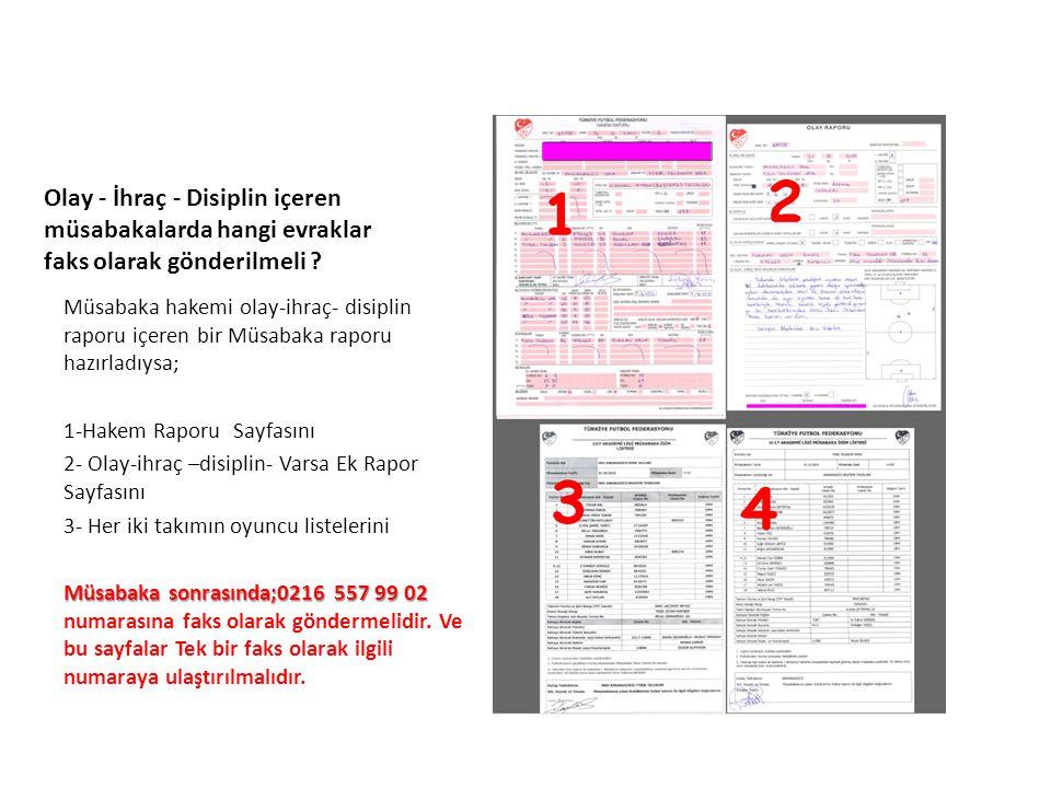 UFGA Olay - İhraç - Disiplin içeren müsabakalarda hangi evraklar faks olarak gönderilmeli ? Müsabaka hakemi olay-ihraç- disiplin raporu içeren bir Müs