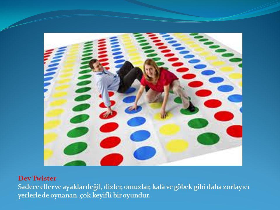 Dev Twister Sadece eller ve ayaklar değil, dizler, omuzlar, kafa ve göbek gibi daha zorlayıcı yerlerle de oynanan,çok keyifli bir oyundur.