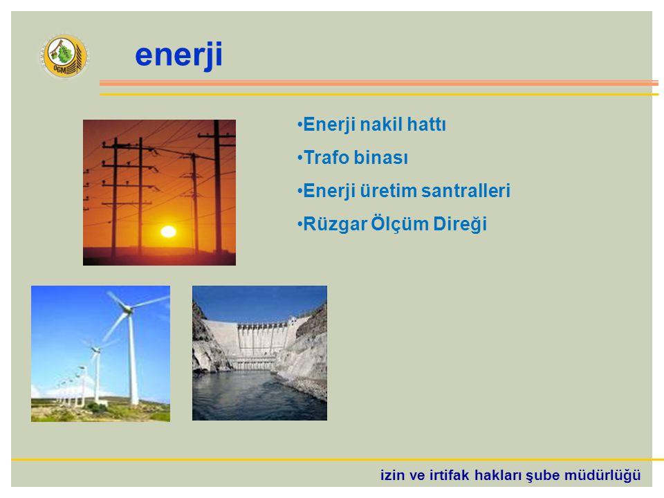 izin ve irtifak hakları şube müdürlüğü enerji Enerji nakil hattı Trafo binası Enerji üretim santralleri Rüzgar Ölçüm Direği