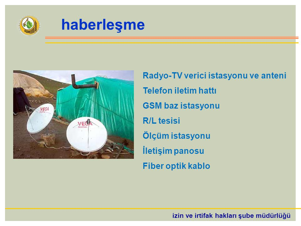 izin ve irtifak hakları şube müdürlüğü haberleşme Radyo-TV verici istasyonu ve anteni Telefon iletim hattı GSM baz istasyonu R/L tesisi Ölçüm istasyonu İletişim panosu Fiber optik kablo
