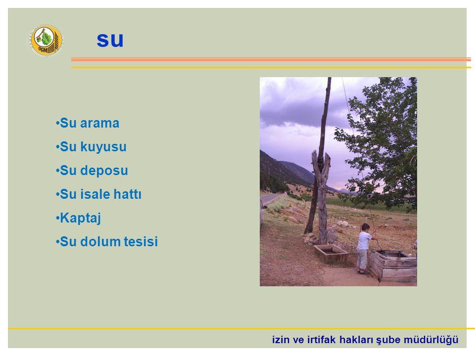 izin ve irtifak hakları şube müdürlüğü su Su arama Su kuyusu Su deposu Su isale hattı Kaptaj Su dolum tesisi