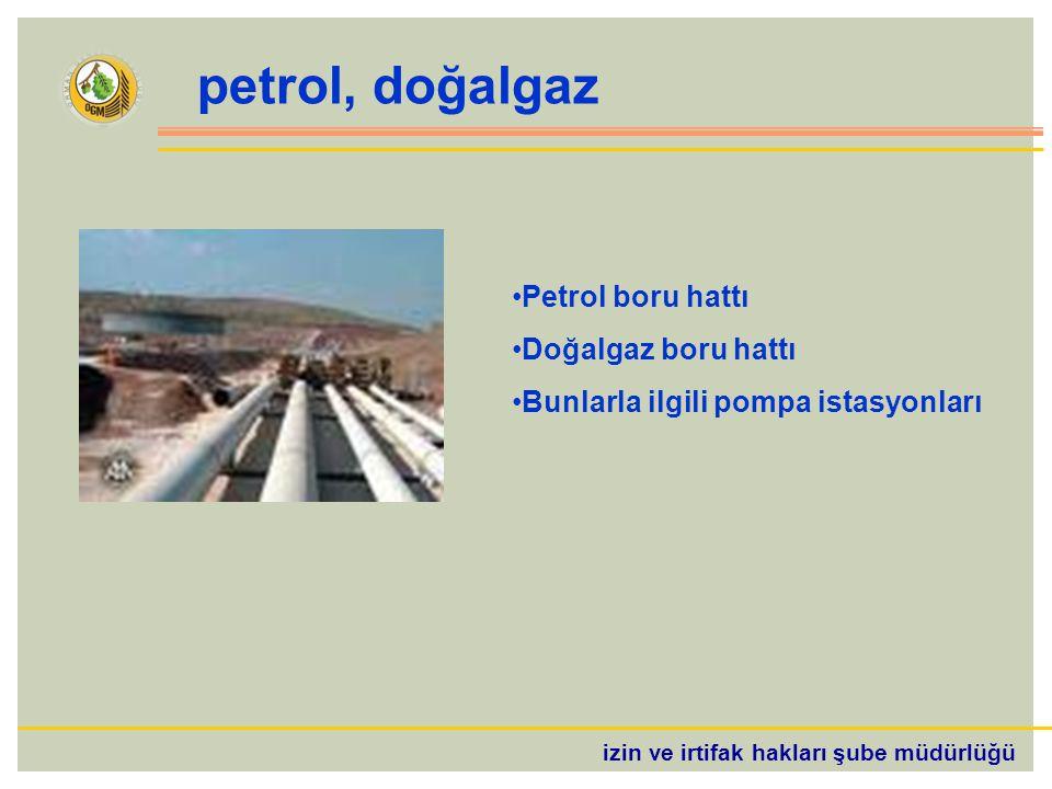 izin ve irtifak hakları şube müdürlüğü petrol, doğalgaz Petrol boru hattı Doğalgaz boru hattı Bunlarla ilgili pompa istasyonları