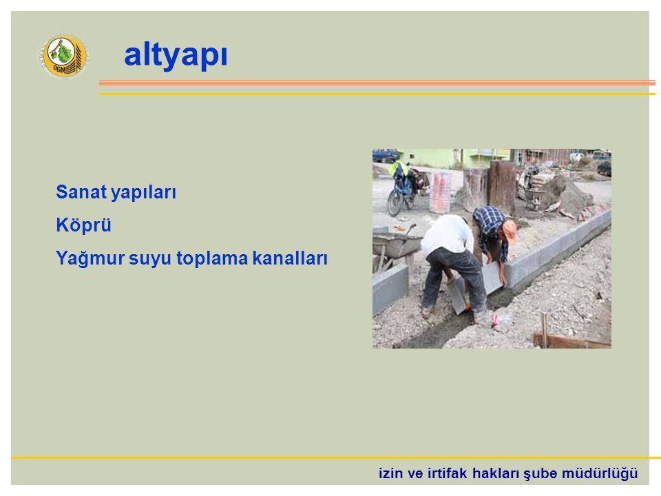 izin ve irtifak hakları şube müdürlüğü altyapı Sanat yapıları Köprü Yağmur suyu toplama kanalları