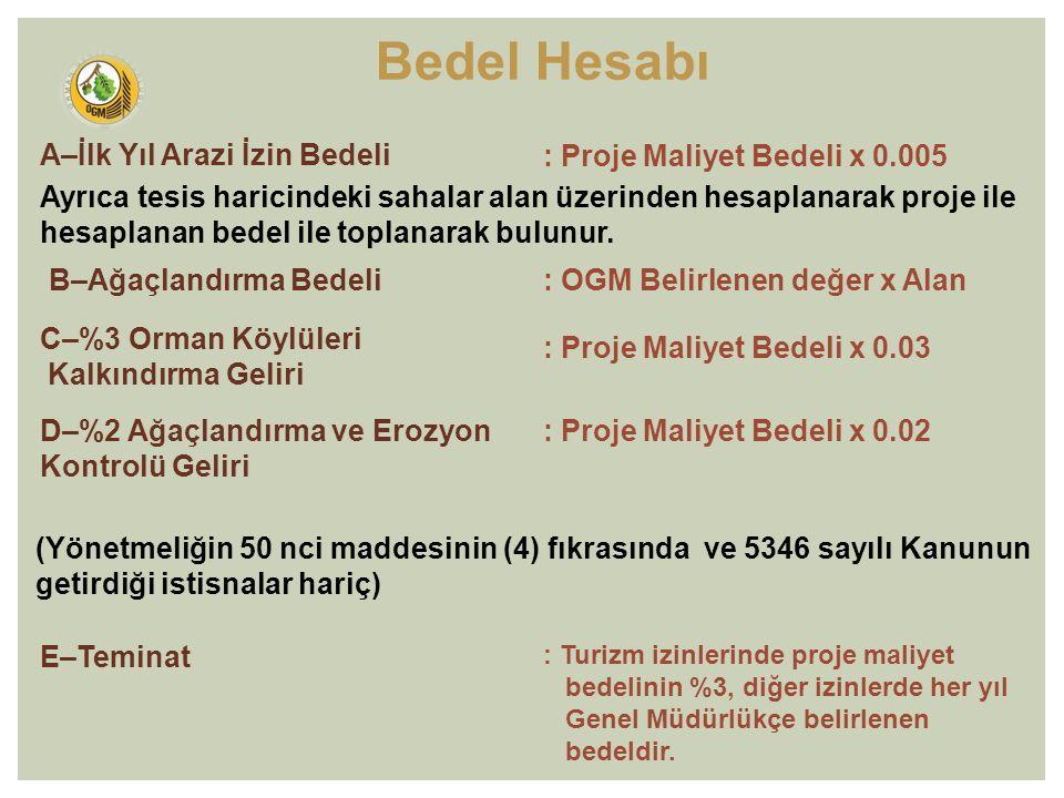 A–İlk Yıl Arazi İzin Bedeli : Proje Maliyet Bedeli x 0.005 B–Ağaçlandırma Bedeli: OGM Belirlenen değer x Alan C–%3 Orman Köylüleri Kalkındırma Geliri : Proje Maliyet Bedeli x 0.03 D–%2 Ağaçlandırma ve Erozyon Kontrolü Geliri : Proje Maliyet Bedeli x 0.02 E–Teminat : Turizm izinlerinde proje maliyet bedelinin %3, diğer izinlerde her yıl Genel Müdürlükçe belirlenen bedeldir.