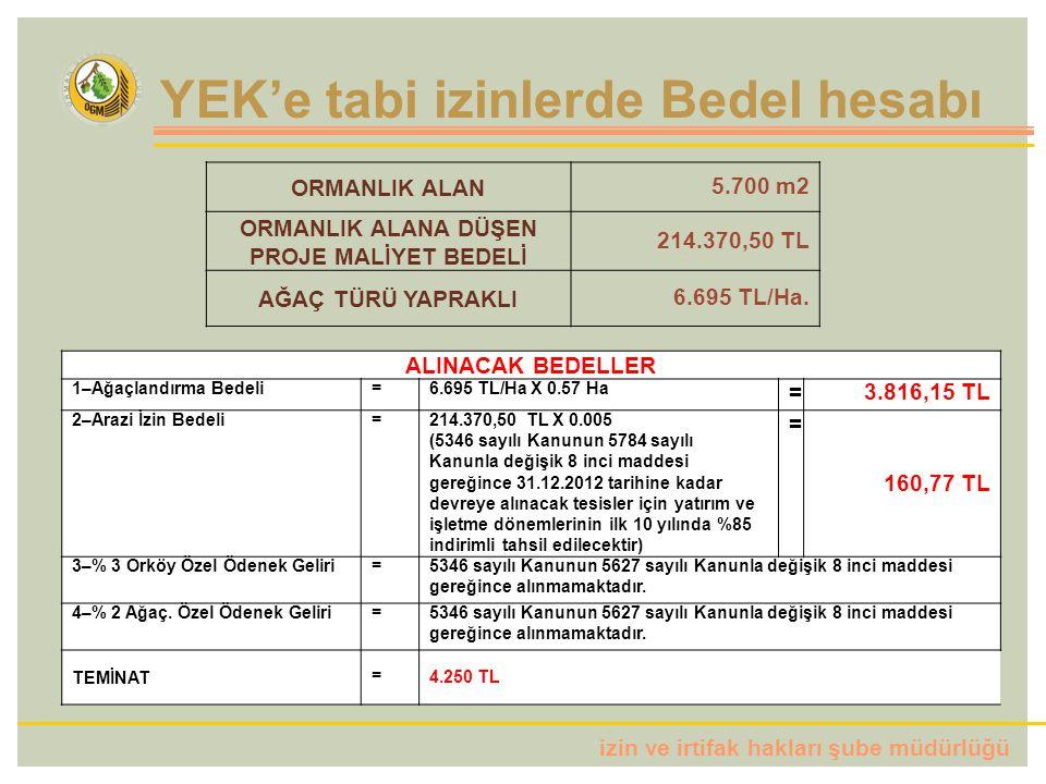 izin ve irtifak hakları şube müdürlüğü ALINACAK BEDELLER 1–Ağaçlandırma Bedeli=6.695 TL/Ha X 0.57 Ha =3.816,15 TL 2–Arazi İzin Bedeli=214.370,50 TL X 0.005 (5346 sayılı Kanunun 5784 sayılı Kanunla değişik 8 inci maddesi gereğince 31.12.2012 tarihine kadar devreye alınacak tesisler için yatırım ve işletme dönemlerinin ilk 10 yılında %85 indirimli tahsil edilecektir) = 160,77 TL 3–% 3 Orköy Özel Ödenek Geliri=5346 sayılı Kanunun 5627 sayılı Kanunla değişik 8 inci maddesi gereğince alınmamaktadır.