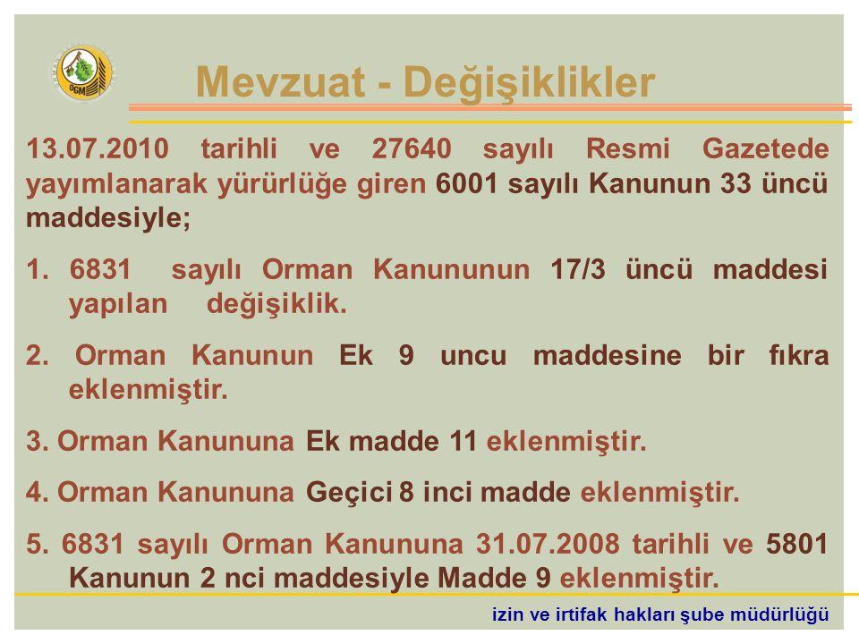 izin ve irtifak hakları şube müdürlüğü 13.07.2010 tarihli ve 27640 sayılı Resmi Gazetede yayımlanarak yürürlüğe giren 6001 sayılı Kanunun 33 üncü maddesiyle; 1.