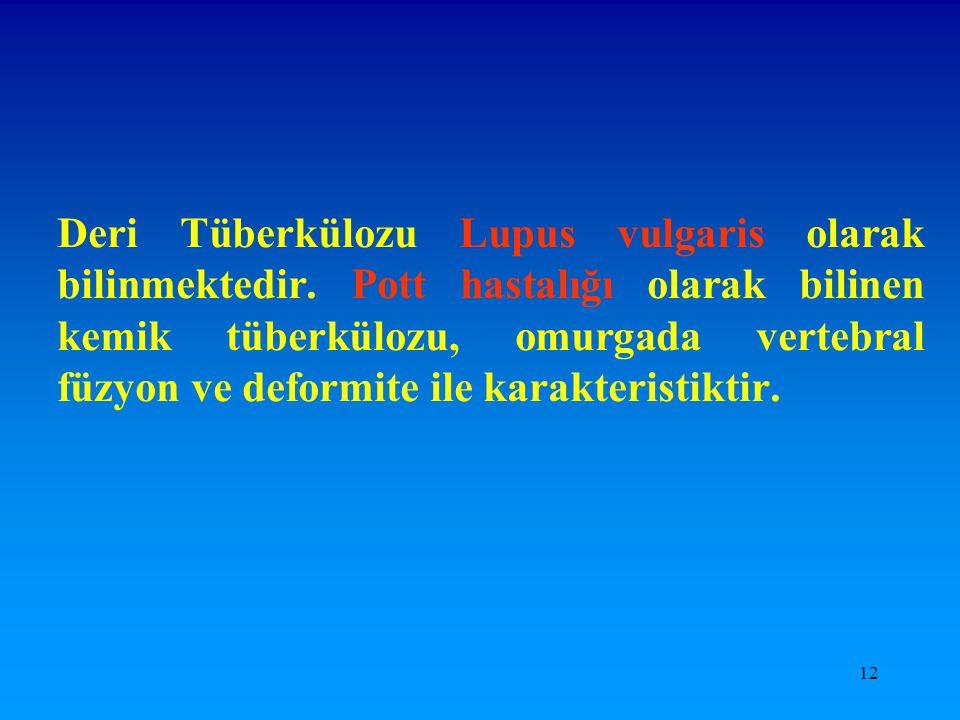 12 Deri Tüberkülozu Lupus vulgaris olarak bilinmektedir. Pott hastalığı olarak bilinen kemik tüberkülozu, omurgada vertebral füzyon ve deformite ile k