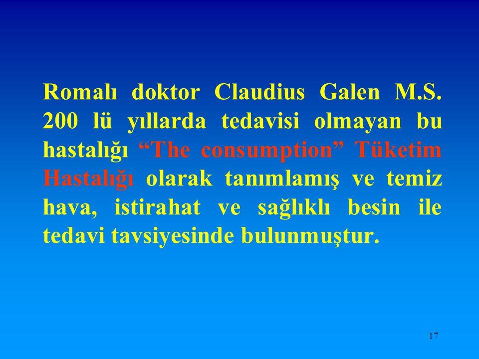 """17 Romalı doktor Claudius Galen M.S. 200 lü yıllarda tedavisi olmayan bu hastalığı """"The consumption"""" Tüketim Hastalığı olarak tanımlamış ve temiz hava"""