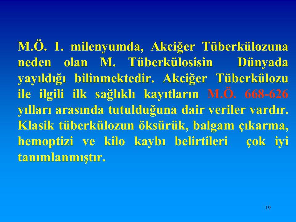 19 M.Ö. 1. milenyumda, Akciğer Tüberkülozuna neden olan M. Tüberkülosisin Dünyada yayıldığı bilinmektedir. Akciğer Tüberkülozu ile ilgili ilk sağlıklı