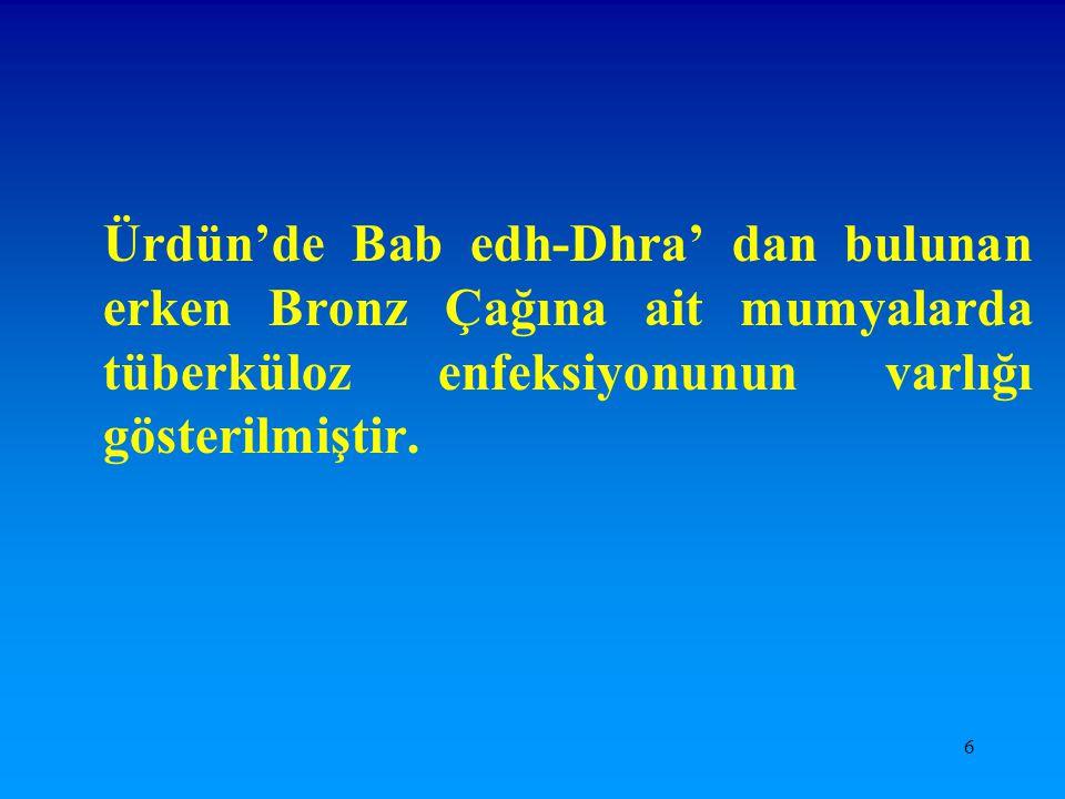6 Ürdün'de Bab edh-Dhra' dan bulunan erken Bronz Çağına ait mumyalarda tüberküloz enfeksiyonunun varlığı gösterilmiştir.