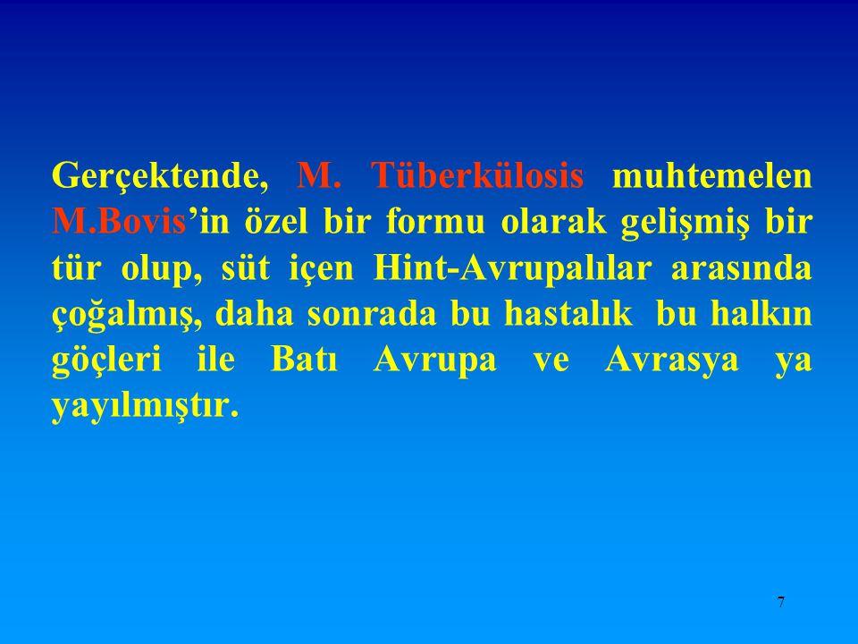 8 Tüberküloz, hava yoluyla yayılan ve Mikobakterium Tüberkülosis olarak adlandırılan bir organizmanın neden olduğu bir hastalıktır.