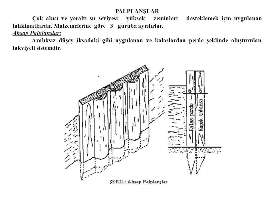 Geniş Yapı Çukurunda İksa. Bodrum ve geniş yapı çukurlarında uygulanan ve çukur kenarlarından 1.50-2.00 m. dıştan çakılan kısa kazıklara 5x8 ya da 6x1