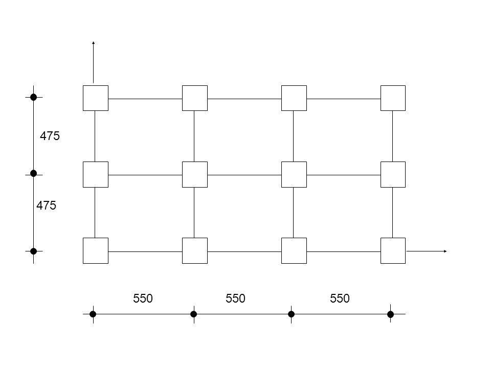 Örnek – 2) Akstan aksa açıklıkları, x ekseni yönünde 5.50 m, y ekseni yönünde 4.75 m olan (aplikasyon planıyla aşağıdaki şekilde verilmiş) yapının 12 kolonuna, dolayısıyla bunların bağlandığı sömellere her katından 220 şer ton yük gelmektedir.