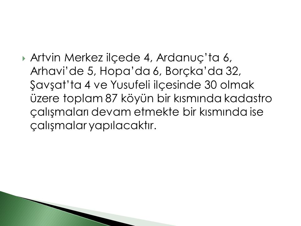  Artvin Merkez ilçede 4, Ardanuç'ta 6, Arhavi'de 5, Hopa'da 6, Borçka'da 32, Şavşat'ta 4 ve Yusufeli ilçesinde 30 olmak üzere toplam 87 köyün bir kıs