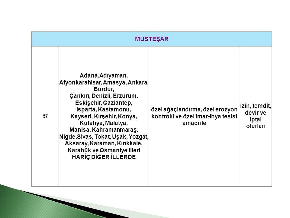 MÜSTEŞAR 57 Adana,Adıyaman, Afyonkarahisar, Amasya, Ankara, Burdur, Çankırı, Denizli, Erzurum, Eskişehir, Gaziantep, Isparta, Kastamonu, Kayseri, Kırş