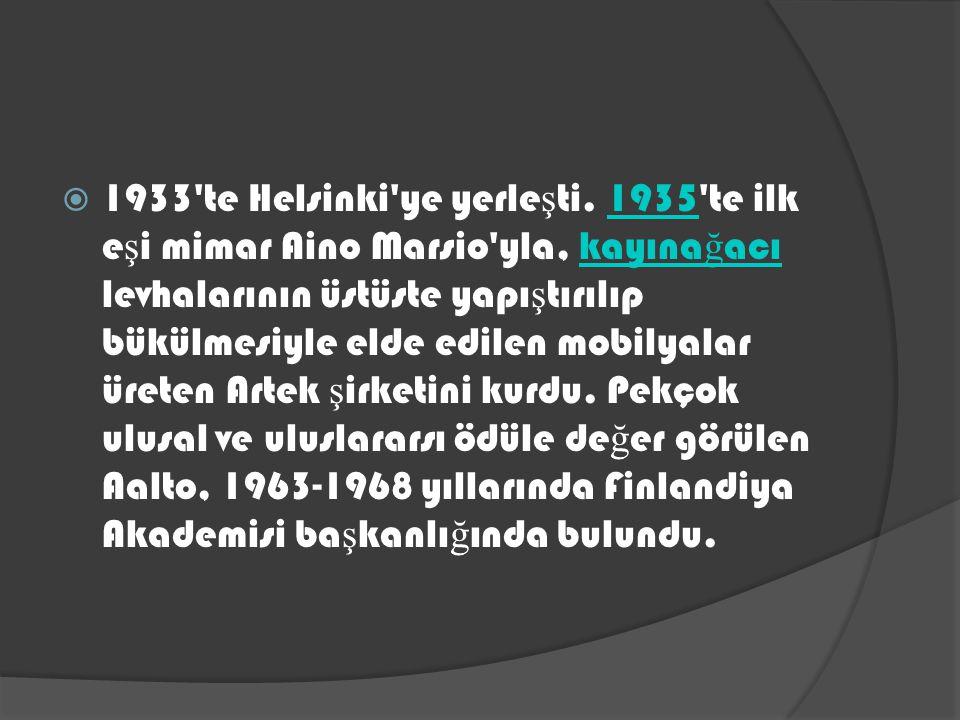  Aalto kendine özgü mimarlık üslubunu, konferans salonundaki akustik dalgalı tavanıyla ünlü Viipuri kütüphanesinde (1927-1935; 1943 te yıkıldı) ve basım odasındaki koni biçiminde sütunlarıyla ilgi çeken Turun Sanomat gazetesi binasında (1927-1930) geli ş tirdi.