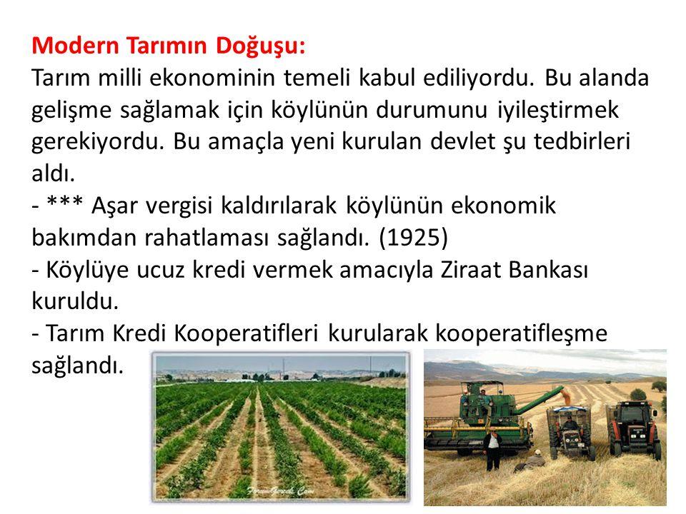 Modern Tarımın Doğuşu: Tarım milli ekonominin temeli kabul ediliyordu. Bu alanda gelişme sağlamak için köylünün durumunu iyileştirmek gerekiyordu. Bu