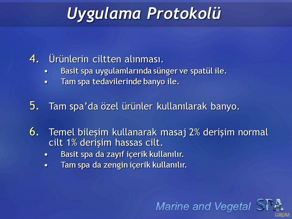 Uygulama Protokolü 4. Ürünlerin ciltten alınması.