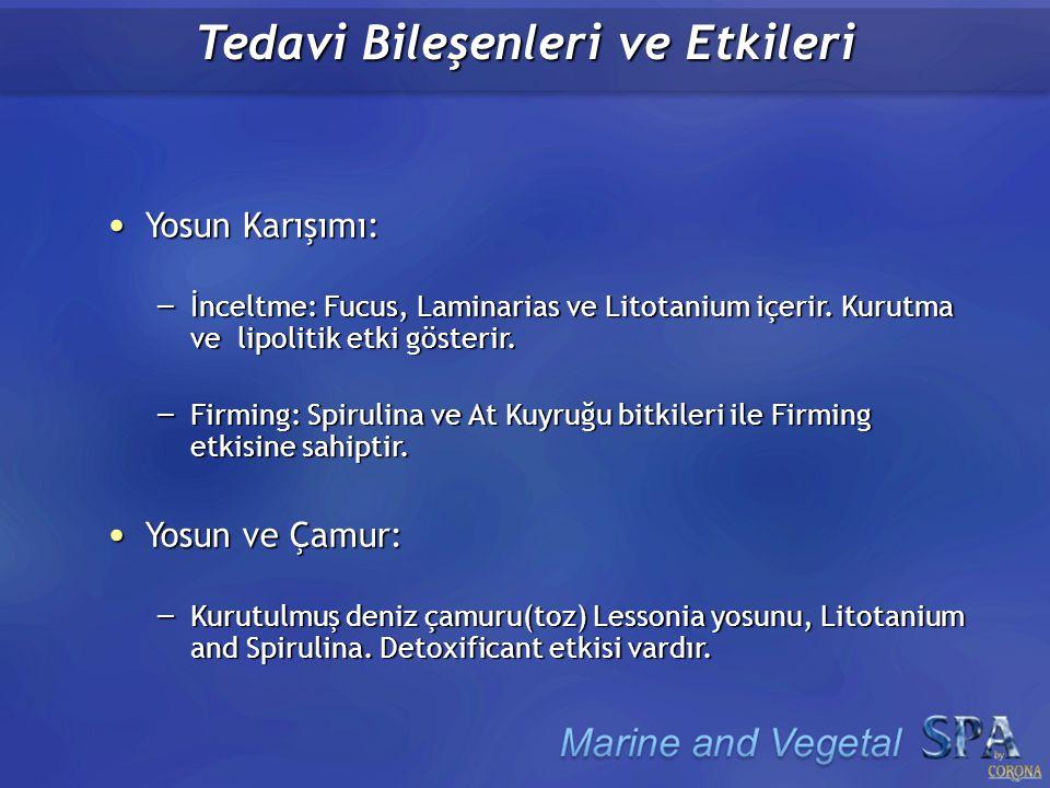 Tedavi Bileşenleri ve Etkileri Deniz Çamuru: Deniz Çamuru: – Kurutulmuş Akdeniz tortusu(toz).