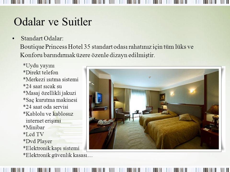 Odalar ve Suitler Standart Odalar: Boutique Princess Hotel 35 standart odası rahatınız için tüm lüks ve Konforu barındırmak üzere özenle dizayn edilmi