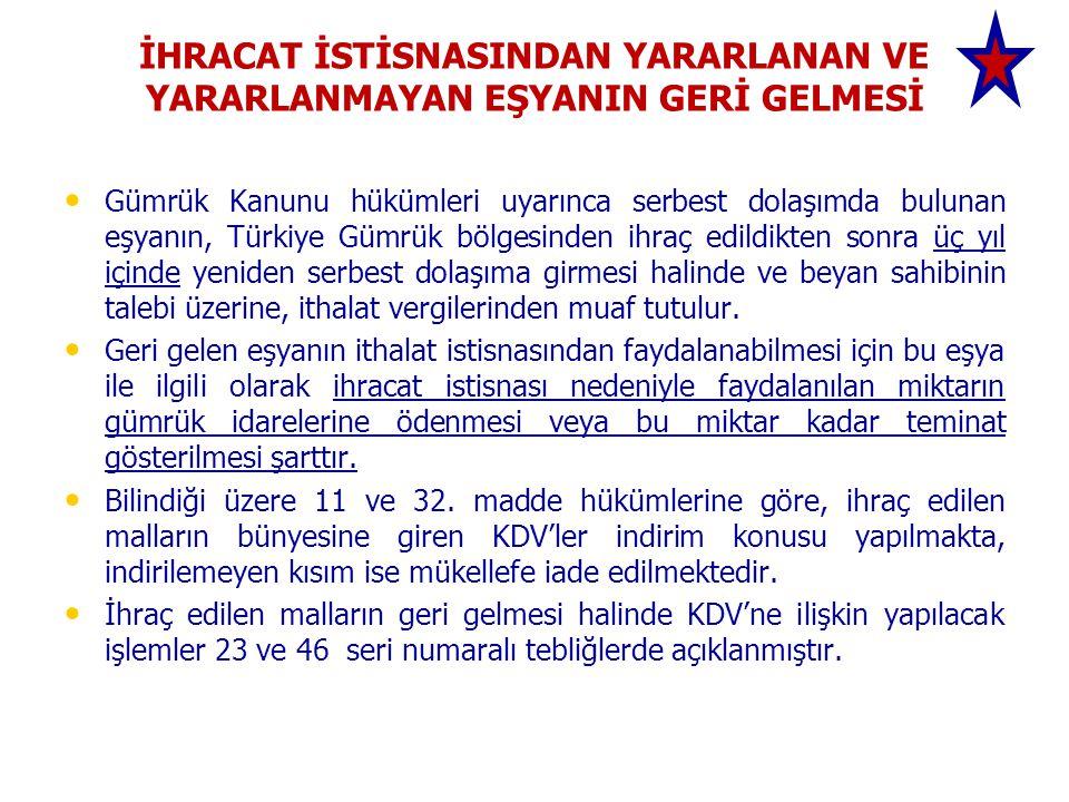 İHRACAT İSTİSNASINDAN YARARLANAN VE YARARLANMAYAN EŞYANIN GERİ GELMESİ Gümrük Kanunu hükümleri uyarınca serbest dolaşımda bulunan eşyanın, Türkiye Gümrük bölgesinden ihraç edildikten sonra üç yıl içinde yeniden serbest dolaşıma girmesi halinde ve beyan sahibinin talebi üzerine, ithalat vergilerinden muaf tutulur.