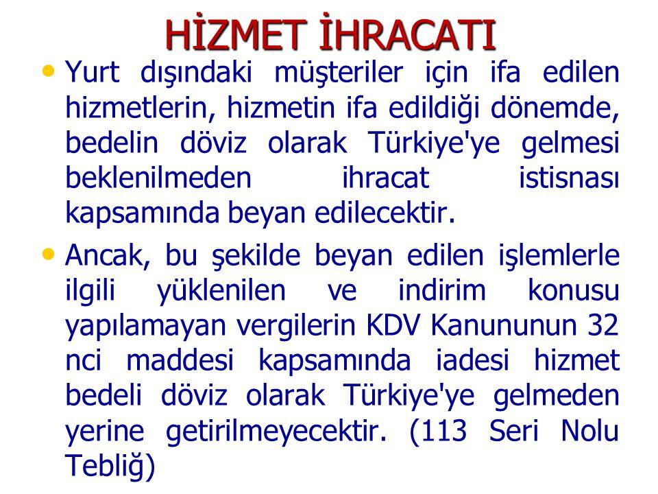 HİZMET İHRACATI Yurt dışındaki müşteriler için ifa edilen hizmetlerin, hizmetin ifa edildiği dönemde, bedelin döviz olarak Türkiye ye gelmesi beklenilmeden ihracat istisnası kapsamında beyan edilecektir.