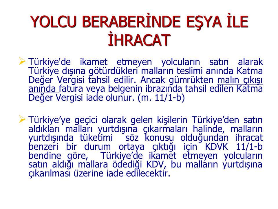 YOLCU BERABERİNDE EŞYA İLE İHRACAT   Türkiye de ikamet etmeyen yolcuların satın alarak Türkiye dışına götürdükleri malların teslimi anında Katma Değer Vergisi tahsil edilir.