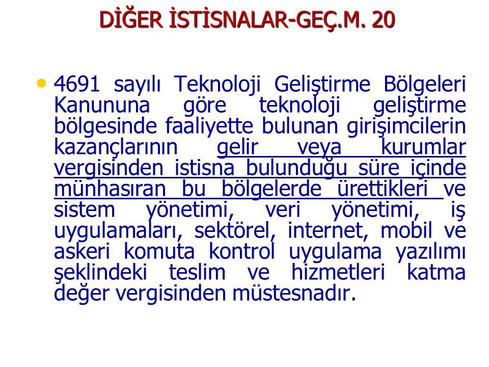 DİĞER İSTİSNALAR-GEÇ.M.