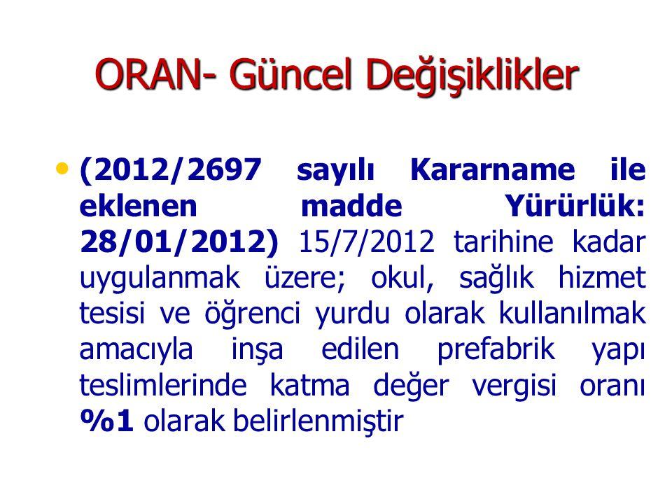 ORAN- Güncel Değişiklikler (2012/2697 sayılı Kararname ile eklenen madde Yürürlük: 28/01/2012) 15/7/2012 tarihine kadar uygulanmak üzere; okul, sağlık