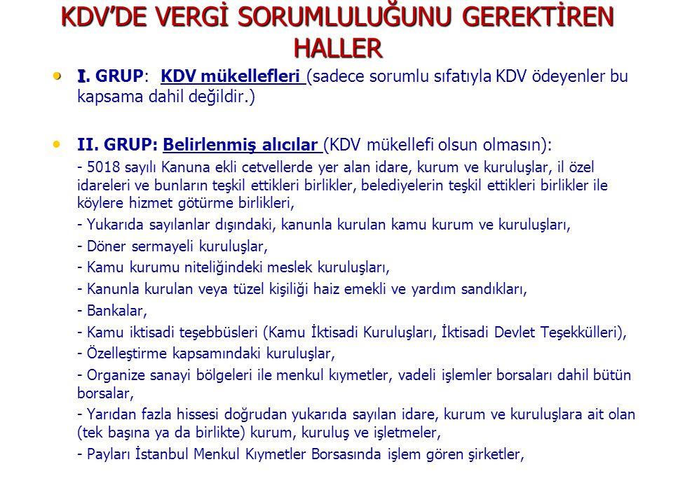 KDV'DE VERGİ SORUMLULUĞUNU GEREKTİREN HALLER I I.