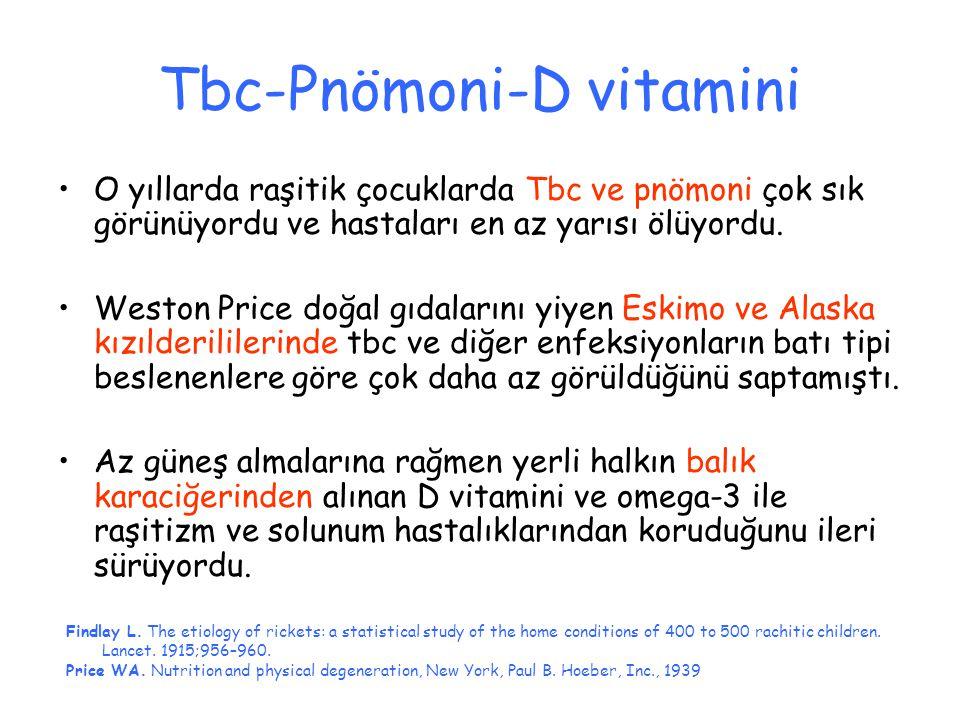 Tbc-Pnömoni-D vitamini O yıllarda raşitik çocuklarda Tbc ve pnömoni çok sık görünüyordu ve hastaları en az yarısı ölüyordu. Weston Price doğal gıdalar