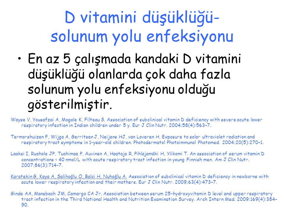 D vitamini düşüklüğü- solunum yolu enfeksiyonu En az 5 çalışmada kandaki D vitamini düşüklüğü olanlarda çok daha fazla solunum yolu enfeksiyonu olduğu