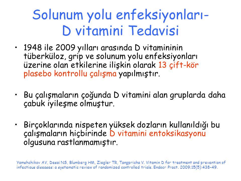 Solunum yolu enfeksiyonları- D vitamini Tedavisi 1948 ile 2009 yılları arasında D vitamininin tüberküloz, grip ve solunum yolu enfeksiyonları üzerine olan etkilerine ilişkin olarak 13 çift-kör plasebo kontrollu çalışma yapılmıştır.