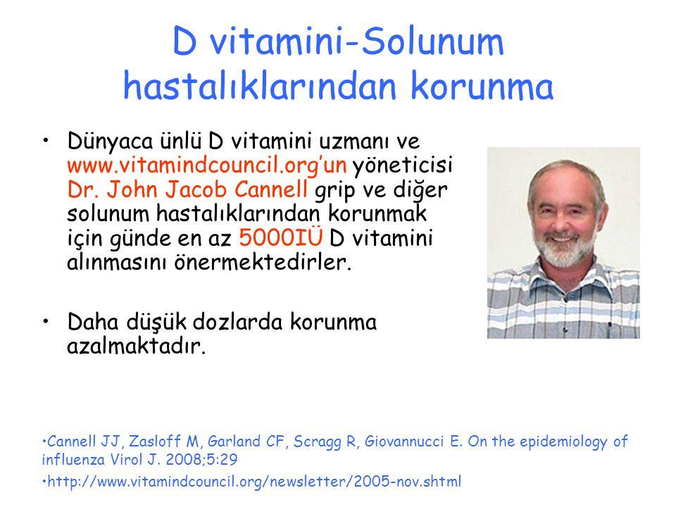 D vitamini-Solunum hastalıklarından korunma Dünyaca ünlü D vitamini uzmanı ve www.vitamindcouncil.org'un yöneticisi Dr. John Jacob Cannell grip ve diğ