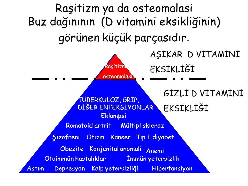 D vitamini yetersizliğinin dereceleri Yetersizliğin derecesi25(OH) D vitamini düzeyi Ağır D vitamini yetersizliği (raşitizm) Marjinal D vitamini yetersizliği Gizli D vitamini yetersizliği Normal <10 ng/mL 10-20 ng/mL 20-40 ng/mL 40-120 ng/mL 1 ng/mL=2.5nmol/L