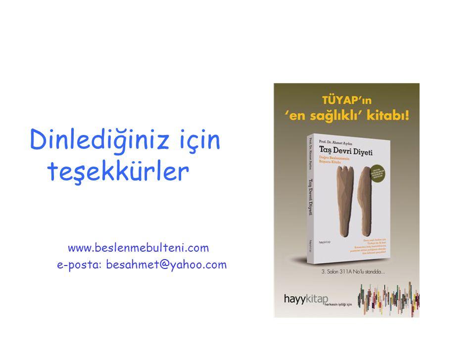 Dinlediğiniz için teşekkürler www.beslenmebulteni.com e-posta: besahmet@yahoo.com