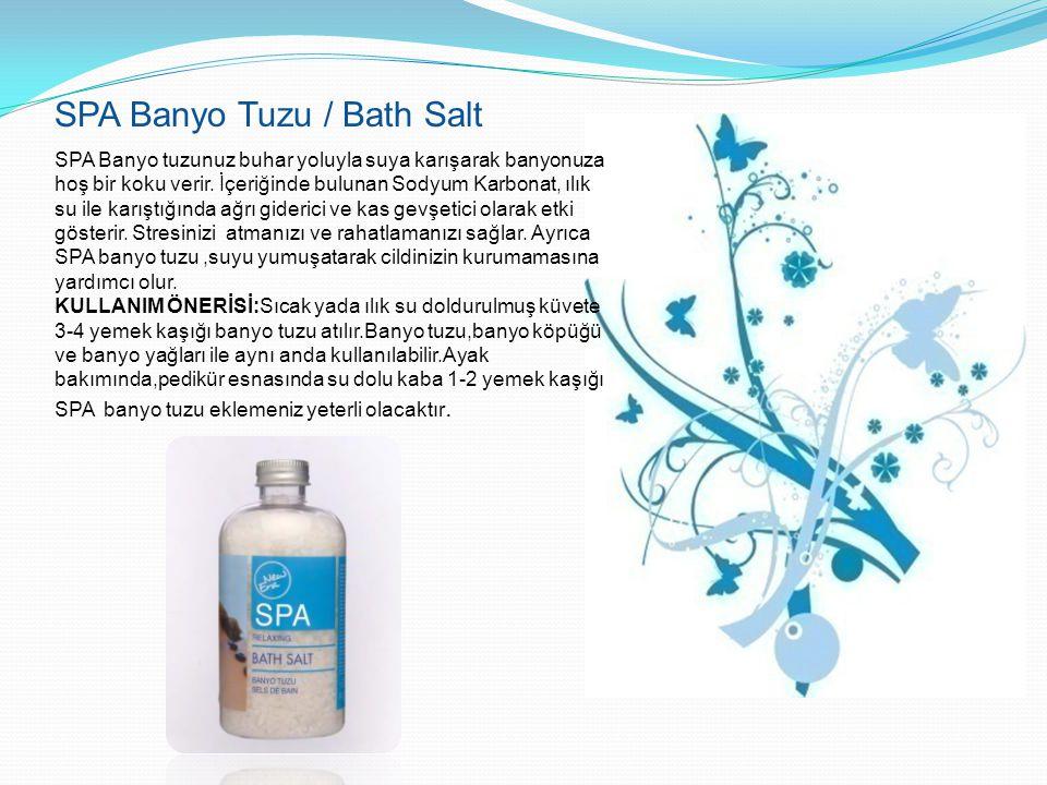 SPA Banyo Tuzu / Bath Salt SPA Banyo tuzunuz buhar yoluyla suya karışarak banyonuza hoş bir koku verir. İçeriğinde bulunan Sodyum Karbonat, ılık su il