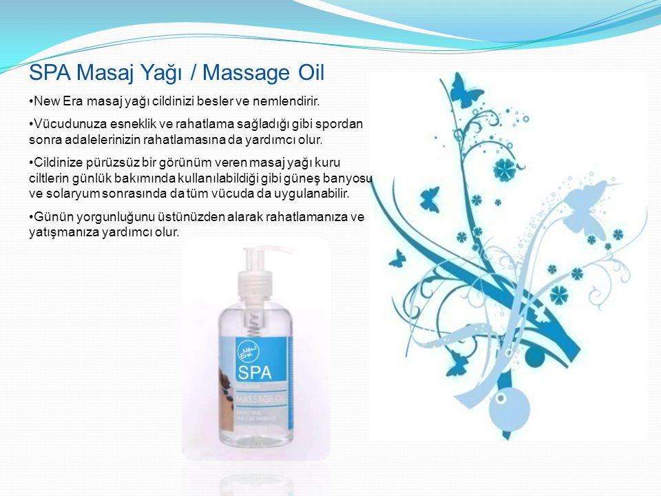 SPA Masaj Yağı / Massage Oil New Era masaj yağı cildinizi besler ve nemlendirir. Vücudunuza esneklik ve rahatlama sağladığı gibi spordan sonra adalele